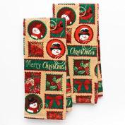 Festive Holiday Stamps Kitchen Towel Set- 2 Piece- 42cm x 70cm