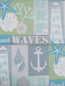Ocean Surf, Beach and Waves Marine Patchwork Vinyl Flannel Back Tablecloth