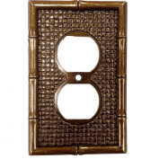 Antique Brass Tiki Bamboo Receptacle Wallplate Duplex Outlet Cover 89603