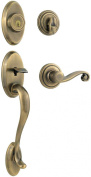 Kwikset Shelburne Single Cylinder Handleset w/Lido Lever featuring SmartKey in Antique Brass