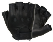 Damascus D22S Leather Driving Gloves Half-Finger Unlined, X-Large, Black, X-Larg