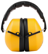 Schutz Compact Foldable Ear Muffs with Soft Adjustable Headband, NRR = 34dB, CE Approved, ANSI S12.42/S3.19, Yellow, Black