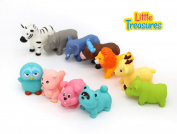Little Treasures Baby Animal Farm Collection Bathtub Toy Set Includes Cow, Rabbit, Owl, Raccoon, Hippo, Lion and More!