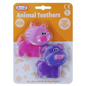 Cooling Gel Filled Baby Teethers Twin Pack Various Textures Pink Cat Purple Dog