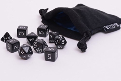 10 Piece Black Opaque Polyhedral Dice Set - Includes Four Six Sided Dice (D6) and Free Small Dice Bag