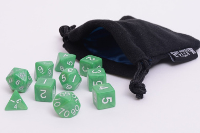 10 Piece Jade Green Polyhedral Dice Set - Includes Four Six Sided Dice (D6) and Free Small Dice Bag