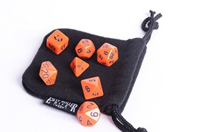 Orange Opaque Polyhedral Dice Set | 7 Piece | PRISTINE Edition | FREE Dice Bag | Hand Checked Quality.