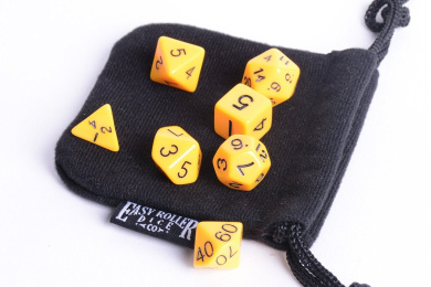 Yellow Opaque Polyhedral Dice Set | 7 Piece | PRISTINE Edition | FREE Dice Bag | Hand Checked Quality.