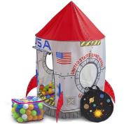 Space Adventure Roarin' Rocket Play Tent with 100 Soft Ball Pit Balls with Fun Illustrations by Imagination Generation