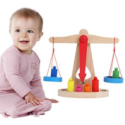 Small Wooden Balance Scale With 6 Weights For Kids Math Education Toy^.