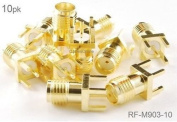 CablesOnline , 10-Pack SMA Female Jack PCB Mount, Gold Plated RF Connectors, RF-M903-10