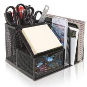 Black Metal Mesh Office Supplies Storage Rack / File Folder Mail Organiser / Post It Note Memo Pad Holder