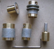 Stained Glass and Lapidary Diamond Grinder Head Bit Set 5 Sizes on Brass Core High Quality