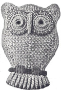 Vintage Crochet PATTERN to make - Pot Holder Owl Motif Hot Pad. NOT a finished item. This is a pattern and/or instructions to make the item only.