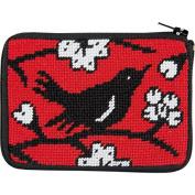 Blackbird Needlepoint Coin Purse-- Stitch & Zip