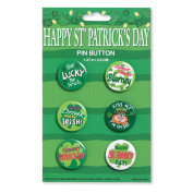 Creative Converting 6 Count St. Patrick's Day Assorted Metal Pin Buttons, Green