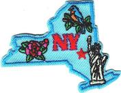 """NY""- NEW YORK STATE SHAPE- Iron On Patch/Big Apple, Statue of Liberty, USA"