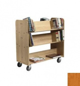 28cm Solid Oak Book Truck With 4 Sloped & 1 Flat Shelf Finish
