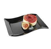 Fineline Settings Wavetrends Black Rectangular-Wave China-Like 14cm X 19cm Plate 120 Pieces by Fine Line Settings, Inc.