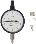 Mitutoyo 2804SB-10 Dial Indicator, #4-48 UNF Thread, 1cm Stem Dia., Flat Back, White Dial, 0-10 Reading, 5.7cm Dial