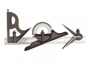 Starrett 435ME-300 Cast Iron Square, Centre And Reversible Protractor Heads With Regular Blade Combination Set, Black Wr