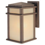 Murray Feiss OL3401CB Mission Lodge Collection 32cm 1-Light Exterior Wall Sconce, Corinthian Bronze Finish with Cream Glass