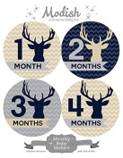 12 Monthly Baby Stickers, Boy, Deer, Antlers, Baby Belly Stickers, Monthly Onesie Stickers, First Year Stickers Months 1-12, Chevron, Tan, Beige, Taupe, Blue, Navy, Grey, Grey, Woodland, Baby Boy