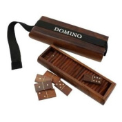 Deluxe Wooden Domino Game Set with Storage with 28 Domino Tiles - Unique Handcrafted Toys And Board Games For Adult