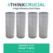 4 Pool Filters Replace Unicel C-8412, Fits 11sqm Hayward CX1200RE, Designed & Engineered by Think Crucial