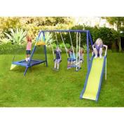 Almansor Metal Trampoline/Slide and Swing Set