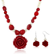 46cm Simulated Red Coral Cultured Freshwater Pearl Carved Rose Necklace + Earring