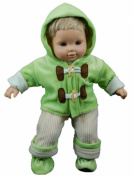 38cm Doll Clothes for American Girl® Bitty Baby & Twins Green & Cream Overalls shirt jacket & Shoes