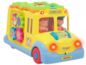 Techege Smart School Bus Battery Powered Learn and Play Experience for Kids Fun Lights and Sounds Bump'n'Go Action