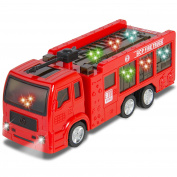 Kids Toy Fire Truck Electric Flashing Lights and Siren Sound, Bump and Go Action