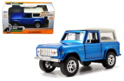New 1:32 W/B Just Trucks - BLUE 1973 FORD BRONCO Diecast Model Car By Jada Toys