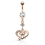 Ribbon and Heart with Paved Gems Dangle Navel Ring - Colour