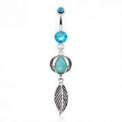 Nature Turquoise Semi Precious Stone Headress with Leaf Dangle Navel Ring 316L