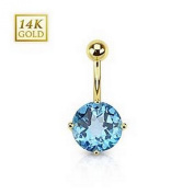 Swiss Blue Topaz Gemstone Round Prong Set 14 Karat Solid Yellow Gold Navel Ring with