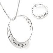 Möbius Strip Sterling Silver Pendant with Handwritten Style Quote