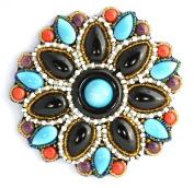 Black Turquoise Porcelain Large Flower Brooch - Costume Jewellery