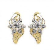 0.72 Carats White CZ in 2.03 Grammes Gold Plated Silver Earrings