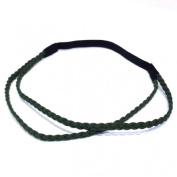 rougecaramel Suede Double Rows Braided Headband/Hair Band - Green
