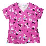 Simply Basic Womens Fuchsia Pink Dot Medical Smock Nurse Scrubs Shirt Top XS