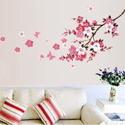 Qianxing removable cycle-usable flower and tree theme wallpaper wall sticker leisure style beautiful scenery Wall Decal for house home living room mural Decoration(peach blossom)