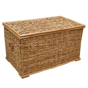 Rattan Wicker Lined Rustic Trunk or Laundry, Storage Basket, Toy Chest, 69x40x39cm - Medium