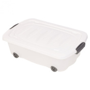 Under Bed Plastic Storage Box Chest Wheeled With Lids - Sets of 2 (Small
