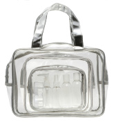 Danielle Creations Clear and Metallic Bag with Travel Bottles, Silver