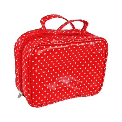 Beauty Bag White Dots Red