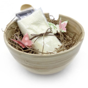 DIY Clay Mask Bowl Set - Bamboo Bowl, Spoon, Brush & Face Cloth - Use for mixing Bentonite, Rhassoul or Other Clay and Healing Masks