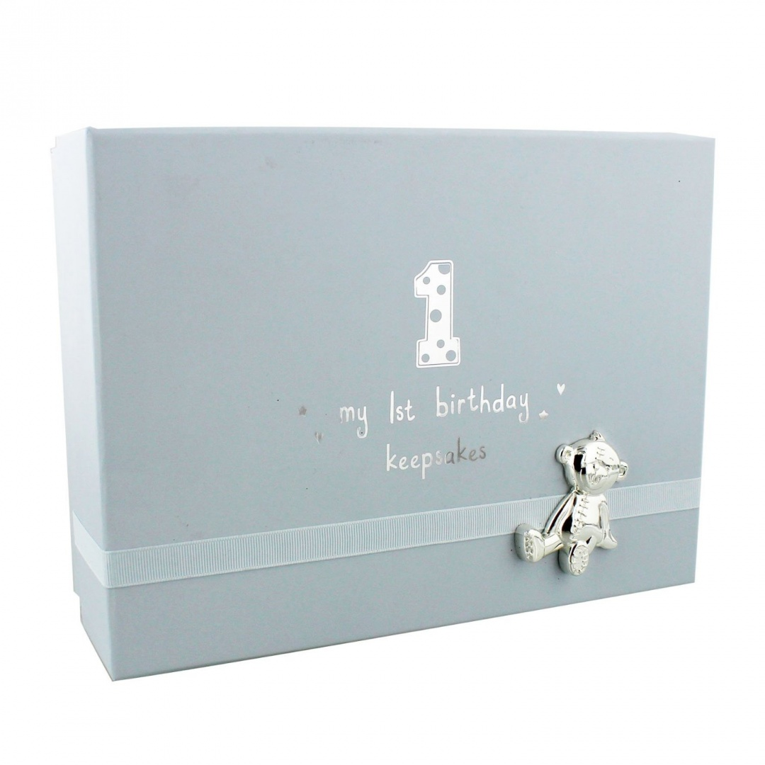 Baby Boys 1st Birthday Gift Keepsake Box With Teddy By